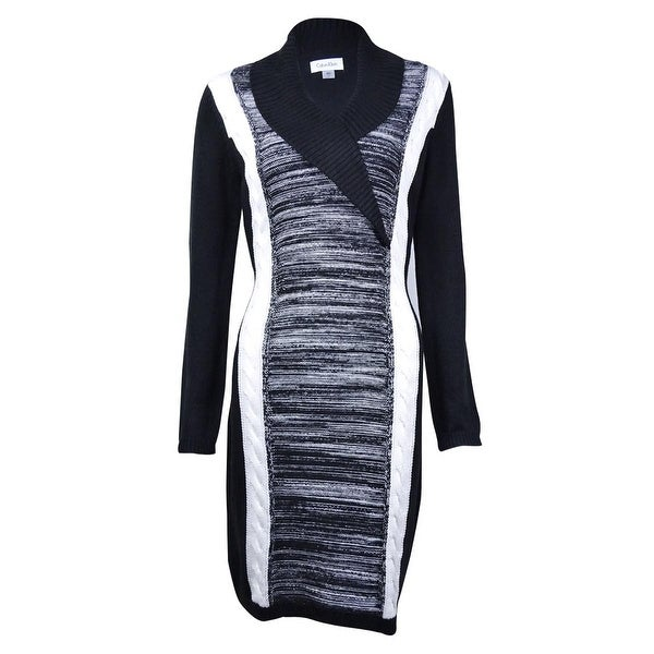 d5759c6d6f6 Shop Calvin Klein Women s Colorblock Shawl Collar Sweater Dress - Black Charcoal  - Free Shipping On Orders Over  45 - Overstock - 15014548