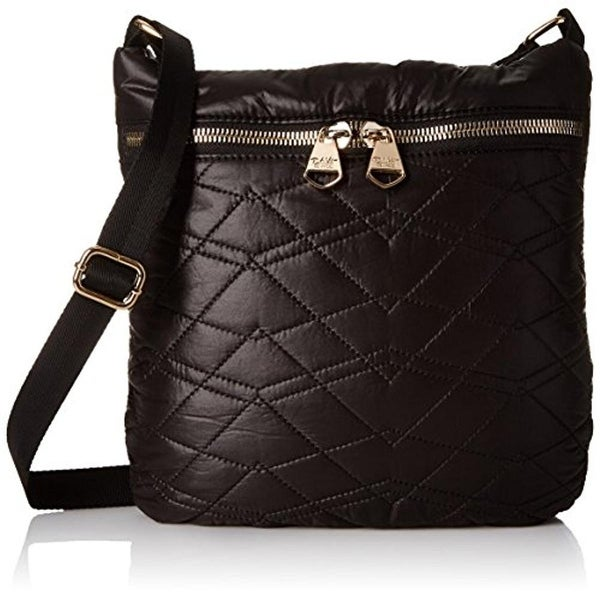 Dolce Vita Collection Womens Crossbody Handbag Quilted Adjustable Strap - Black - MEDIUM