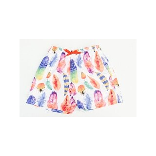 Azul Little Boys Orange Multi Dancing Feather Print Drawstring Swim Shorts