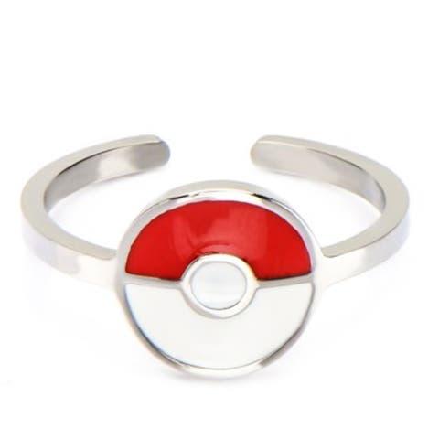 Pokemon Pokeball Red/White Stainless Steel Women's Ring, Size 6