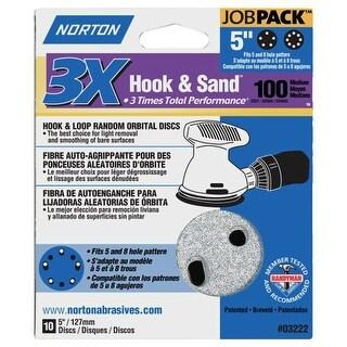 """Norton 04034 Hook and Loop 3X Sanding Discs, 100 Grit, 5"""""""