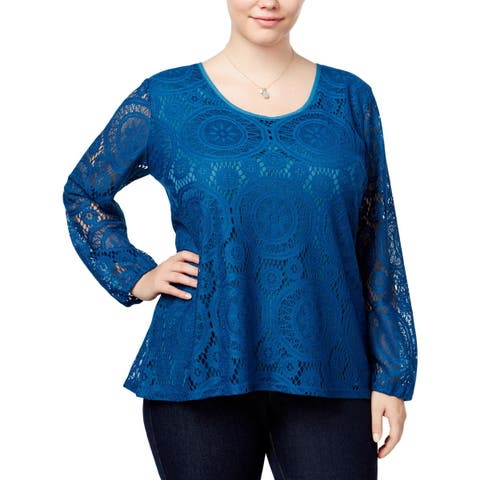 ING Womens Plus Blouse Lace Sheer
