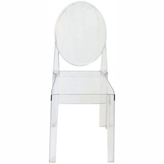2xhome - LARGE Size - Clear Victorian Ghost Style Armless Side Chair