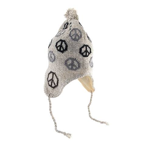 Peace Sign Knit Winter Hat with Pom Pom - One size