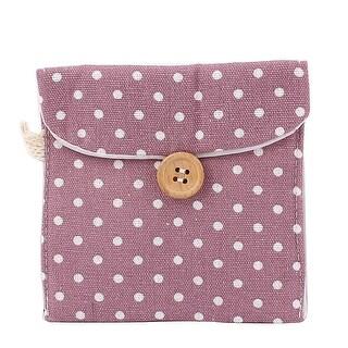 Lady Cotton Blend Dots Sanitary Pad Napkin Holder Bag Pouch Light Purple