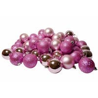"96ct Bubblegum Pink Shatterproof 4-Finish Christmas Ball Ornaments 1.5"" (40mm)"
