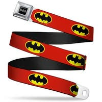 Batman Black Silver Batman Shield Fluorescent Red Yellow Black Webbing Seatbelt Belt
