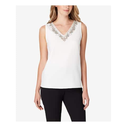 TAHARI Womens White Embellished Sleeveless V Neck Top Size: XL
