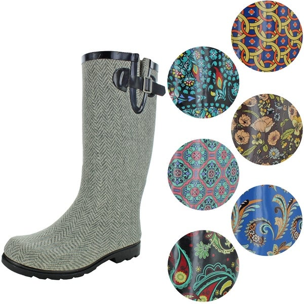 Nomad Women's Puddles Rubber Pattern Mid Calf Wellie Rain Boots. Opens flyout.