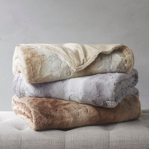 Marselle Weighted Faux Fur Blanket by Beautyrest