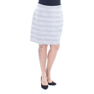 Womens Gray Striped Above The Knee Pencil Wear To Work Skirt Petites Size 14