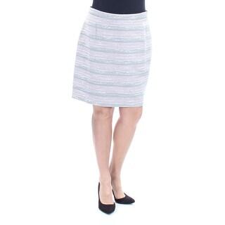 TAHARI $59 Womens New 1108 Gray Striped Pencil Skirt 14 Petites B+B