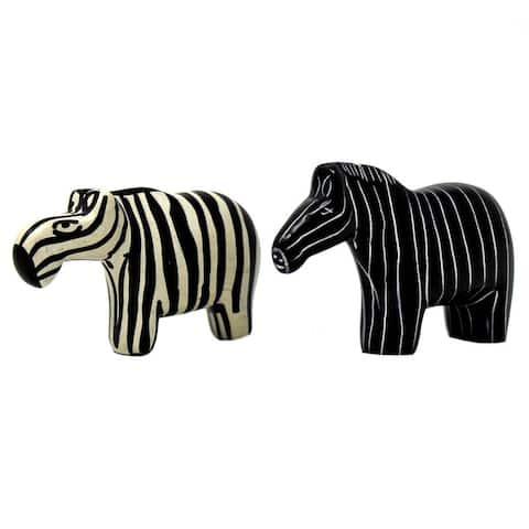 Handmade Zebra Soapstone Statues (Set of 2)