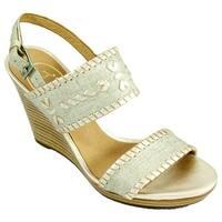 Jack Rogers Women's Vanessa Wedge Sandal Platinum/Platinum Leather