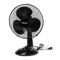 Impress 12 Inch 3 Speed Oscillating Table Fan- Black