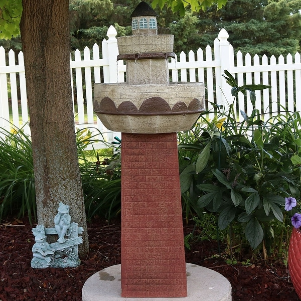 Sunnydaze Brick Lighthouse Outdoor Water Fountain with LED Light 36 Inches Tall