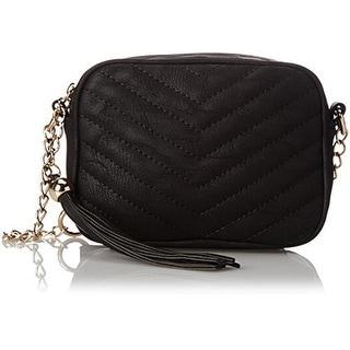 Lulu Womens Mini Camera Faux Leather Quilted Crossbody Handbag - Black - SMALL