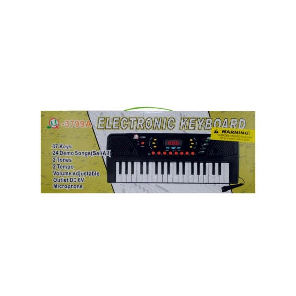 Black and White Children's Electronic Keyboard with Microphone - N/A