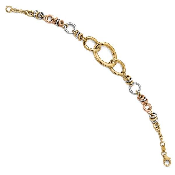 Italian 14k Gold Fancy Bracelet - 7.5 inches
