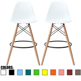 "2xhome Set of Two (2) White 25"" Eames Style Armless Bar Stool Chair With Dowel Natural Wood Eiffel Style Legs"