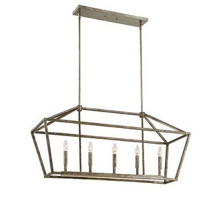 "Millennium Lighting 3245 5 Light 40"" Length Linear Chandelier with Open Frame Cage and Candle Style Lights"