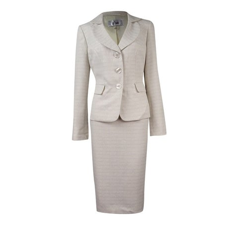 Le Suit Women's Tweed Three Button Skirt Suit - Cream