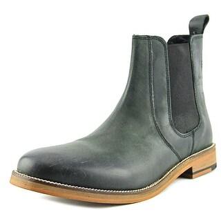 Crevo Denham Men Round Toe Leather Black Ankle Boot