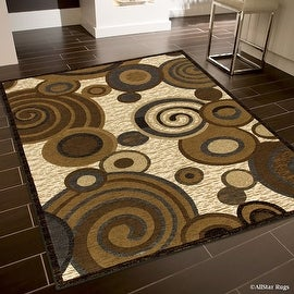 "Allstar Brown / Beige High End Drop Stitch Woven Circles Area Rug (5' 2"" x 7' 2"")"