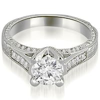 0.70 CT.TW Antique Cathedral Round Cut Diamond Engagement Ring - White H-I