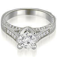 0.85 CT.TW Antique Cathedral Round Cut Diamond Engagement Ring - White H-I