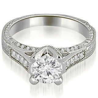 1.10 CT.TW Antique Cathedral Round Cut Diamond Engagement Ring - White H-I