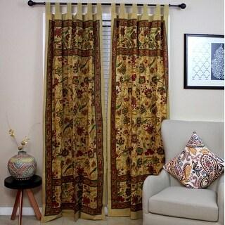 Handmade 100% Cotton Birds of Paradise Tab Top Curtain Drape Panel Mustard 44x88 Purple White
