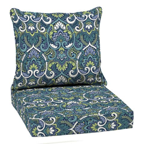 Arden Selections Sapphire Aurora Damask Outdoor 24 x 22 in. Deep Seat Cushion Set - 22 W x 24 D in.