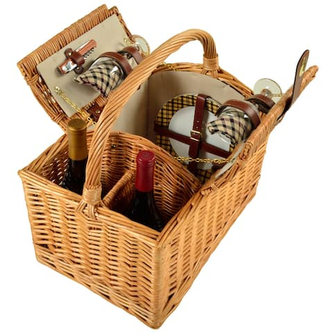 Picnic at Ascot Vineyard Willow Picnic Basket with service for 2 - London Plaid (707-L)