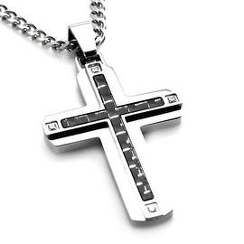 Stainless Steel Carbon w/ Fiber Cross Pendant w/ Four CZ - 24 inches|https://ak1.ostkcdn.com/images/products/is/images/direct/919221b248d19b6b8afeb089223153f443ab292e/Stainless-Steel-Carbon-w--Fiber-Cross-Pendant-w--Four-CZ---24-inches.jpg?impolicy=medium