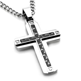 Stainless Steel Carbon w/ Fiber Cross Pendant w/ Four CZ - 24 inches