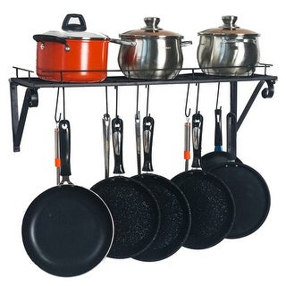 Wall Mounted Pots and Pans Rack with 10 Hooks