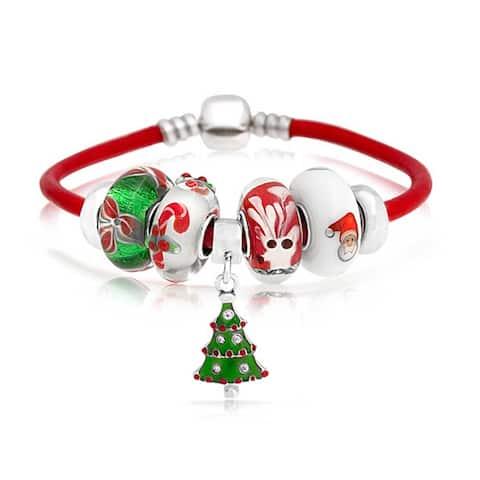 Christmas Tree Reindeer Bead Charms Bracelet Leather Sterling Silver