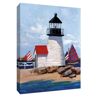 """PTM Images 9-148432  PTM Canvas Collection 10"""" x 8"""" - """"Edgartown Lighthouse"""" Giclee Nautical and Ocean Art Print on Canvas"""