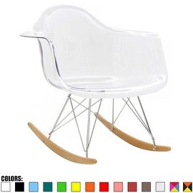 2xhome - Eames Chair Style Molded Modern Plastic Armchair - Contemporary Accent Retro Rocker Chrome Steel Eiffel Base