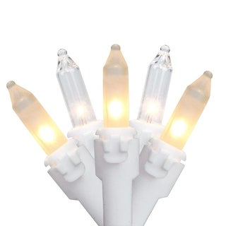 """Set of 100 Clear and Frosted Candlelight Mini Christmas Lights 4.25"""" Spacing - White Wire"""