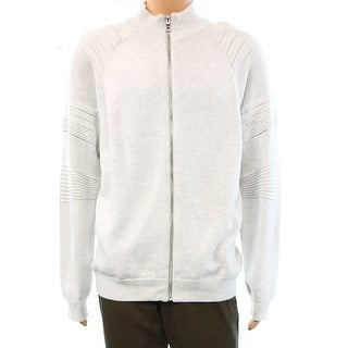 INC NEW Gray Light Heather Mens Size 2XL Full Zip Textured Sweater