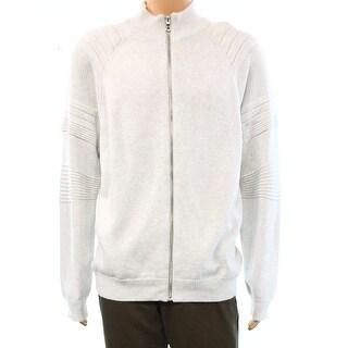 INC NEW Gray Mixed Stitch Mens Size Medium M Full Zip Cotton Sweater