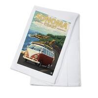 Sonoma Coast, CA - VW Van Coastal - LP Artwork (100% Cotton Towel Absorbent)