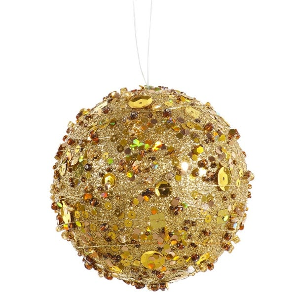 "Gold Sparkle Kissing Christmas Ball Ornament 4"" (100mm)"