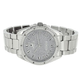 Ice Time Classy Watch Mens Silver Tone 0.10CT Real Diamonds Analog Display Classy