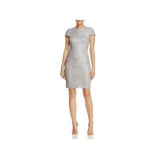 Tadashi Shoji Womens Petites Cocktail Dress Sequined Above Knee - 4P