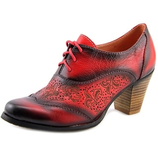 L'Artiste by Spring Step Agila Women Wingtip Toe Leather Red Oxford