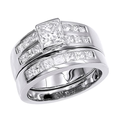 Bridal Set Princess Cut Diamond Engagement Ring and Wedding Band 2.05ctw in 14k Gold by Luxurman