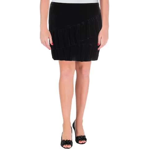 Aqua Womens Mini Skirt Velvet Ruffled